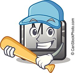 Playing baseball button M on a keyboard mascot