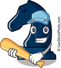 Playing baseball chess knight in the mascot shape