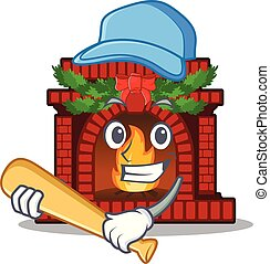 Playing baseball christmas fireplace isolated with the mascot