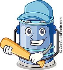 Playing baseball cylinder bucket Cartoon of for liquid
