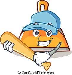 Playing baseball dustpan character cartoon style vector...