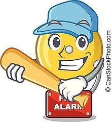 Playing baseball fire alarm stuck the cartoon wall