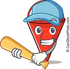 Playing baseball fire bucket mascot shape on cartoon