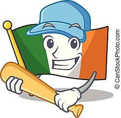 Playing baseball flag ireland isolated with the cartoon ...