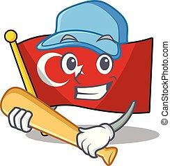 Playing baseball flag turkey character on shaped cartoon