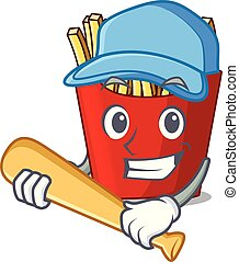 Playing baseball french fries above cartoon table wood