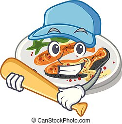 Playing baseball grilled salmon isolated in the mascot