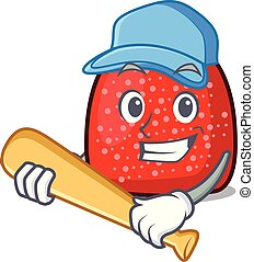 Playing baseball gumdrop character cartoon style vector ...