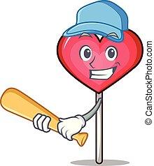 Playing baseball heart lollipop character cartoon