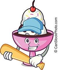 Playing baseball ice cream sundae character cartoon vector...