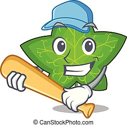 Playing baseball ivy leaf isolated on character cartoon