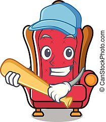 Playing baseball king throne character cartoon