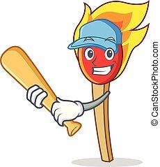 Playing baseball match stick character cartoon