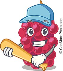 Playing baseball mulberry fruit on a cartoon table vector...