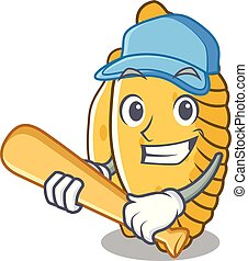 Playing baseball pastel character cartoon style vector ...