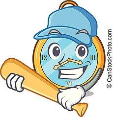 Playing baseball Pocket vintage watch on a cartoon