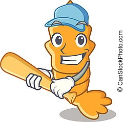 Playing baseball shrimps on a character cartoon style