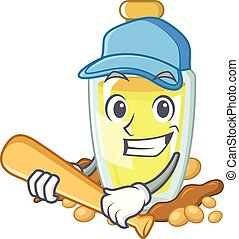 Playing baseball soybean oil put in cartoon bottle