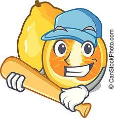 Playing baseball ugli fruit above the cartoon table vector ...