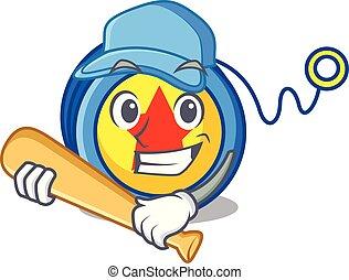 Playing baseball yoyo character cartoon style vector...