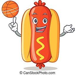 Playing Basketball Hot Dog Cartoon Character