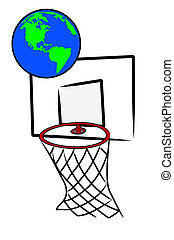 playing basketball with the earth or globe