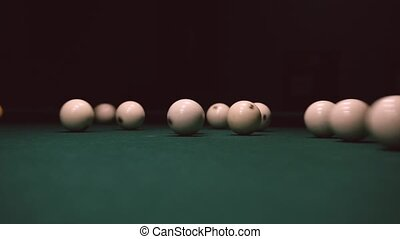 Playing Billiards. Break Triangle of White Balls on Green Table. Snooker Game. Static Shot