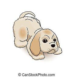 playing., caractère, chien, illustration, épagneul, vecteur, cocker, chiot, dessin animé