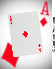 Playing card, ace - Playing card with a blurry background, ...