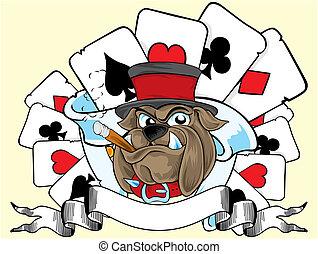 playing card and bulldog