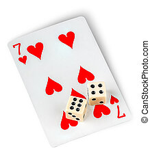 Playing card and dices