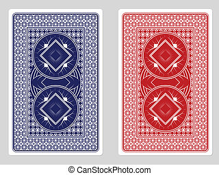 Playing Card Back Designs - Red and Blue custom poker cards