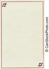 playing card empty paper background with number twelve