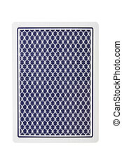 Playing card from back isolated over white background