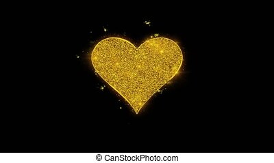 Playing card heart suit Icon Sparks Particles on Black...