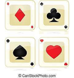 Playing card icons - Collection of four glossy playing card...