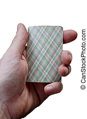 Playing card in the male hand isolated on the white background