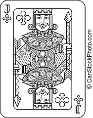 Playing Card Jack of Clubs Black and White