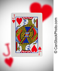 Playing card, jack of hearts - Playing card with a blurry...