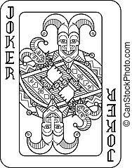 Playing Card Joker Black and White