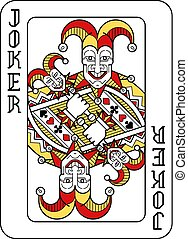 Playing Card Joker Red Yellow and Black