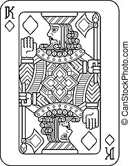 Playing Card King of Diamonds Black and White