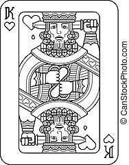 Playing Card King of Hearts Black and White