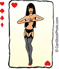 Playing card pin up design with extra symbols