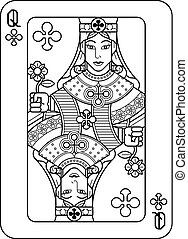 Playing Card Queen of Clubs Black and White