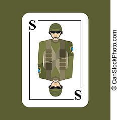 Playing card soldiers. Conceptual new card military man. Takes in game all characters. Armed forces, in helmet and flak vest.