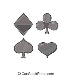 Playing card suit icon, black monochrome style