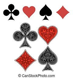Playing card suit icons. Four card suits painted beautiful pattern. Vector illistration