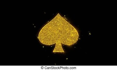 Playing Card Suit Spade Icon Sparks Glitter Particles on Black Background. Shape, Design, Text, Element, Symbol Alpha Channel 4K Loop.