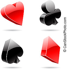 Playing Card Suits - Vector EPS illustration of 3d glossy...